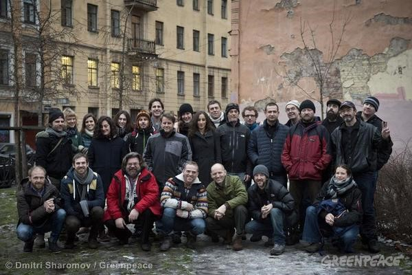 The Arctic 30 in St. Petersburg awaiting trial on charges of hooliganism.
