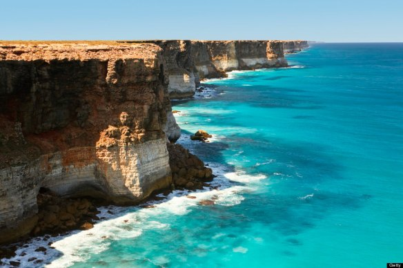 An aerial view of the Great Australian Bight.