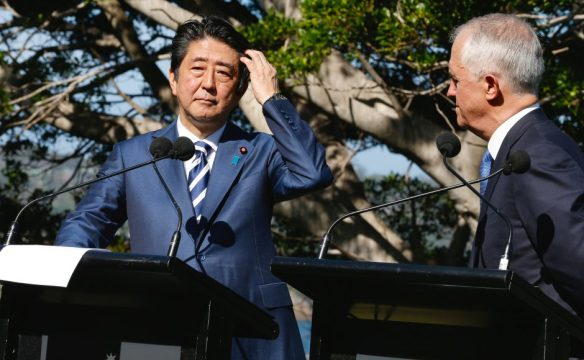Japanese Prime Minister Shinzo Abe participates in a media conference with Australian Prime Minister Malcolm Turnbull after their bilateral meeting at Kirribilli House in Sydney, Australia, Jan 14, 2017. Source: Reuters/Chris Pavlich